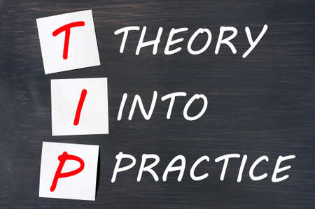 TIP acronym for theory into practice written on a blackboard photo
