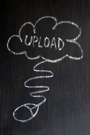 Cloud service of uploading - concept drawn with chalk on a blackboard photo