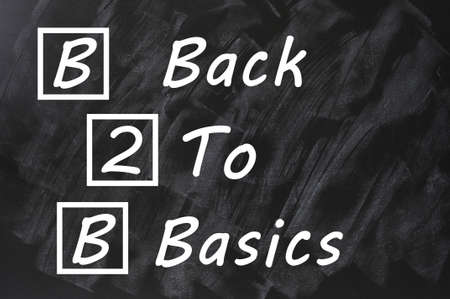 Acronym of B2B for Back to basics written on a smudged blackboard