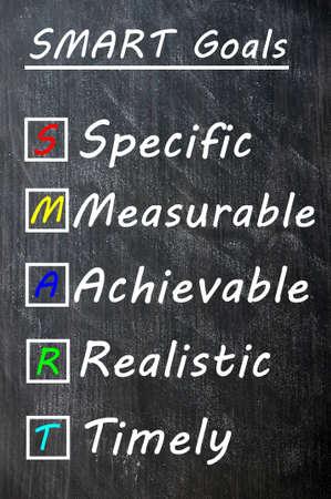 dessin craie: Dessin � la craie de l'acronyme des objectifs SMART pour �tre sp�cifiques, mesurables, r�alisables, r�alistes et opportuns sur un tableau noir Banque d'images