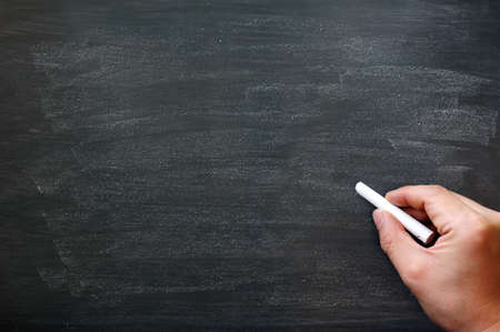 hand writing: Blackboard  chalkboard. Hand writing with copyspace for text. Nice texture.  Stock Photo