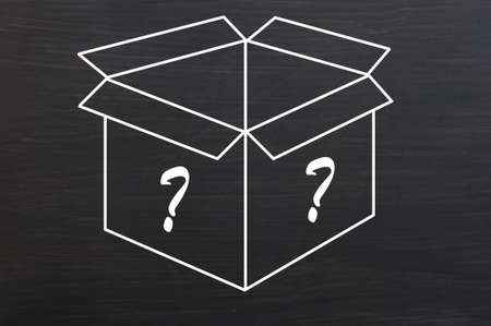 Open box with question marks drawn with white chalk on smudged blackboard background photo