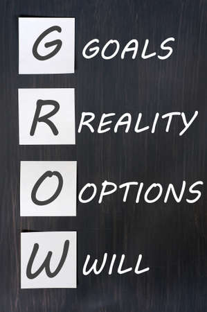 GROW (goals, reality, options, will) - life coaching motivation acronym, chalk handwriting and sticky notes on blackboard  Standard-Bild