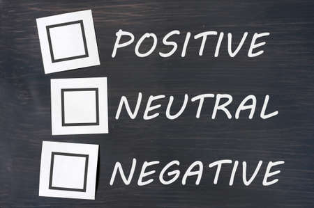 Feedback positive neutral negative on a chalkboard with blank checkboxes photo