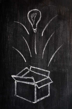 Concept of 'Think Outside the box' drawn with chalk on a blackboard  photo