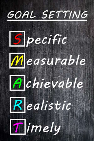 Chalk drawing of SMART Goals acronym for Specific,Measurable,Achievable,Realistic and Timely on a blackboard  photo