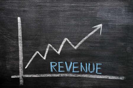 rentable: Gr�fico de crecimiento de los ingresos dibujado con tiza en una pizarra