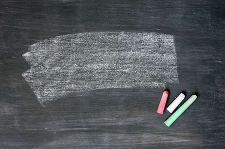 Smudged blackboard background with chalk and copy space photo