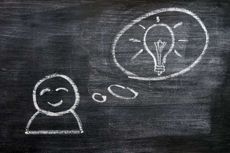 Speech bubble with a cartoon figure and innovation bulb drawn on a blackboard background photo