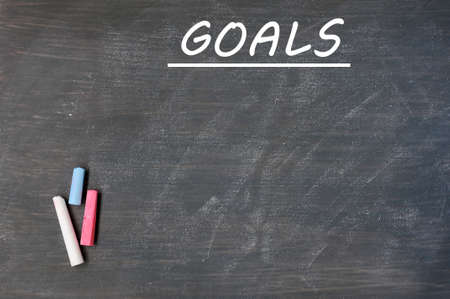 Blank goals list drawn on a smudged blackboard background  photo