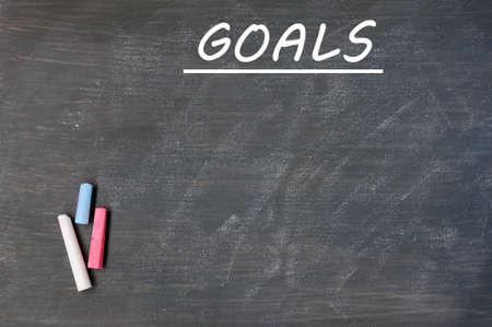 chalk eraser: Blank goals list drawn on a smudged blackboard background