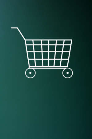 shopping trolley: Shopping cart drawn with white chalk on a green chalkboard