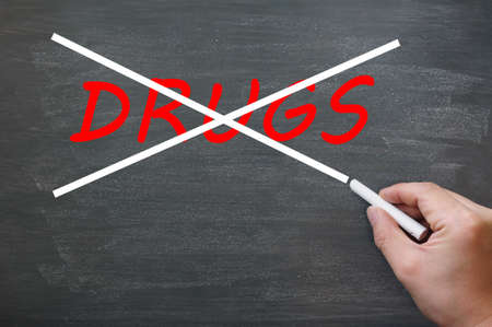Say no to drugs - crossing out drugs on a smudged blackboard with chalk photo