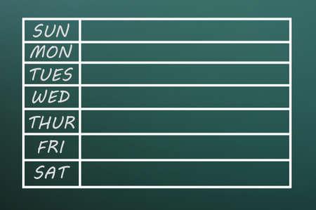 calendario escolar: Día de la semana en blanco de forma natural por escrito con tiza en una pizarra verde