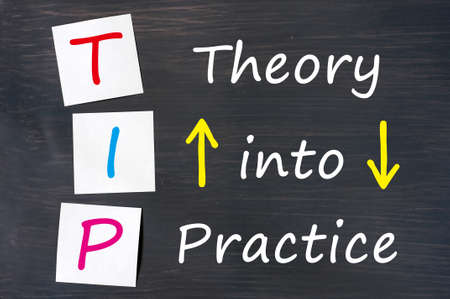 practice: TIP acronym for theory into practice written on a blackboard background with sticky notes