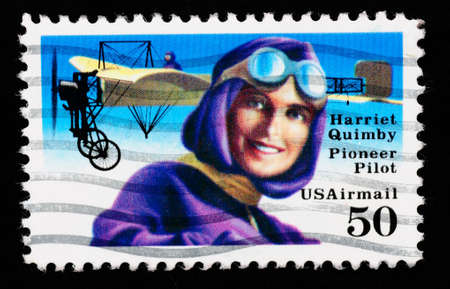 USA - CIRCA 1993 : stamp printed in USA showing Harriet Quimbly American pioneer pilot, circa 1993  photo