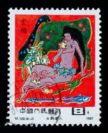 patching: A Stamp printed in China shows a fairy story of the Sky-patching Goddess,1987 Editorial