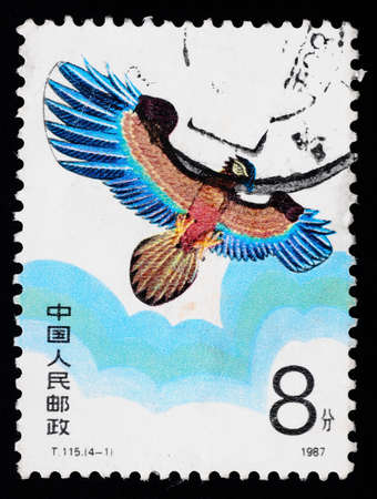 A stamp printed in China shows a kite of eagle figure  in the sky, circa 1987