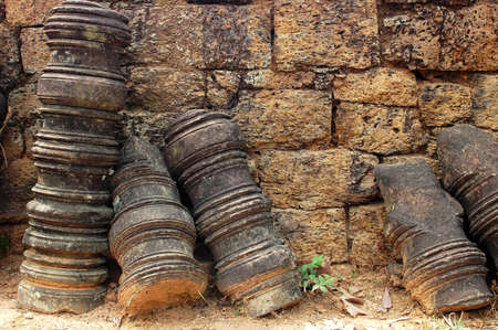 bayon: Stone art relics at Angkor, Cambodia