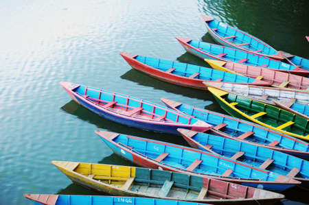 tour boats: Colorful tour boats at lakeside