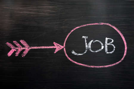 employment issues: Job seeking concept drawn with chalk