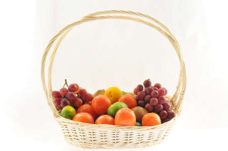 basketful: A basketful of various fruits on a white background