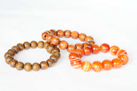 Buddhist beads on a white background photo