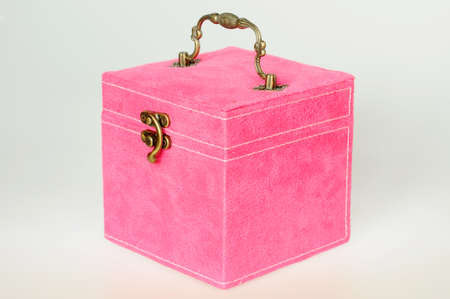 Pink gift box on a white background photo