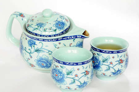 teaset: Chinese pottery teaset on a white background Stock Photo