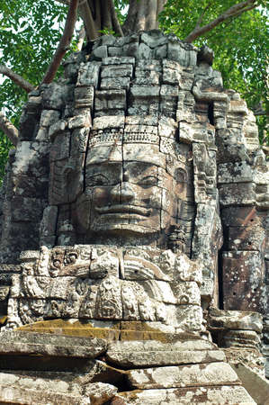 cambodia sculpture: Landmark of the ancient ruins at Angkor,Cambodia