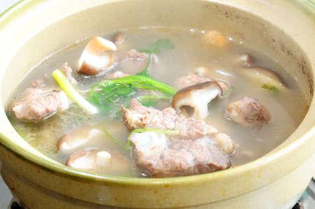 mushroom soup: Pork soup boiled in a pot
