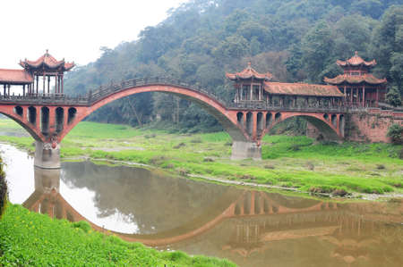 over the hill: A traditional Chinese ancient bridge