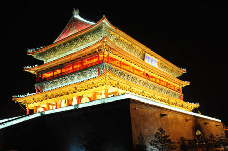 Night view of the famous landmark of Drum Tower in Xian, China Stock Photo - 19074857