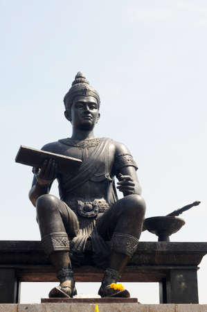king of thailand: Statue of a Thai King in the Historical Park of Sukhothai, Thailand Stock Photo