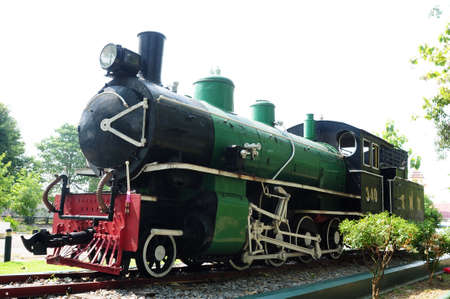 bygone: Preserved steam locomotive of a train in Chiang Mai, Thailand Stock Photo