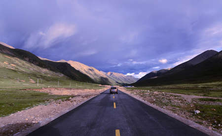 mountain ranges: Landscape of mountain highway in Tibet in the summer