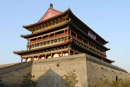 chinese drum: The famous Chinese ancient building of Drum Tower at the city center of Xian, China