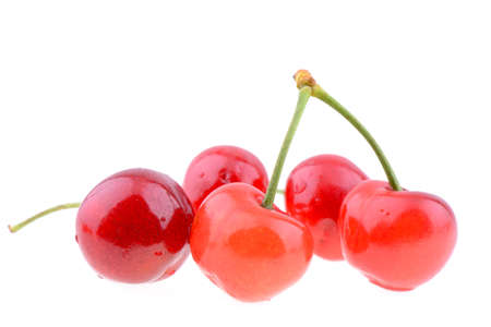 cherries isolated: Fresh sweet cherries isolated on a white background Stock Photo