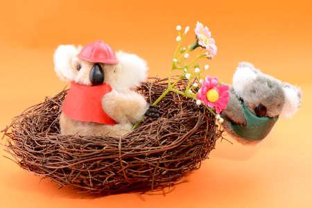 Nest with two Toy Koala on an orange background photo