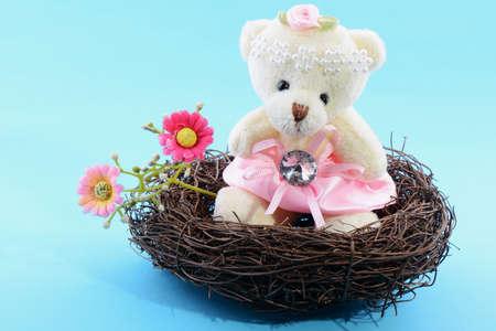 Nest with a Teddy Bear on a blue background photo