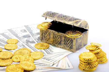 paper currency: Copper box with gold coins and dollar banknotes Stock Photo