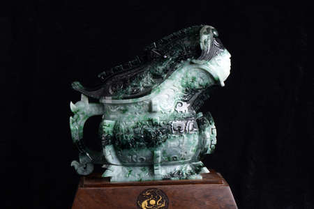 Chinese ancient jade carving art Editorial