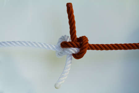 Zeppelin bend knotted on a white background.