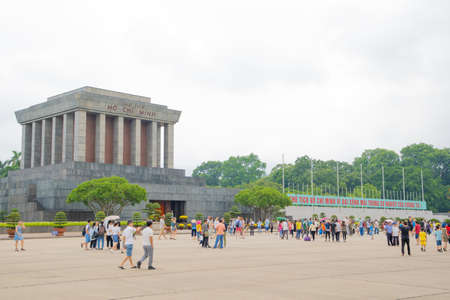 BA DINH, HANOIVIETNAM - JULY 29: Ho Chi Minh Mausoleum in the holiday is the final resting place of Vietnamese Revolutionary leader Ho Chi Minh. It is a large building located in the center city. on 07 29 2018 in Ho Chi Minh Mausoleum