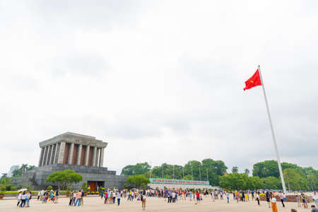HANOIVIETNAM - JULY 29: Ho Chi Minh Mausoleum in the holiday is the final resting place of Vietnamese Revolutionary leader Ho Chi Minh. It is a large building located in the center city. on 07 29 2018 in Ho Chi Minh Mausoleum