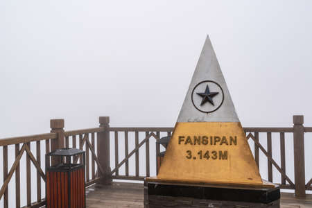 Peak of Fansipan in the clouds on SAPA VIETNAM. Top spot in Indochina altitude 3,143m landmark in VIETNAM 에디토리얼