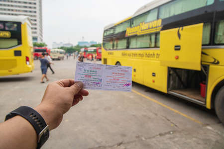 MY DINH, HANOIVIETNAM - JULY 25: Bus ticket in Bus station my dinh for local travel to the north of VIETNAM in the center city. on 07 29 2018 Most save traveled go to SAPA, Halong bay and Southern China.