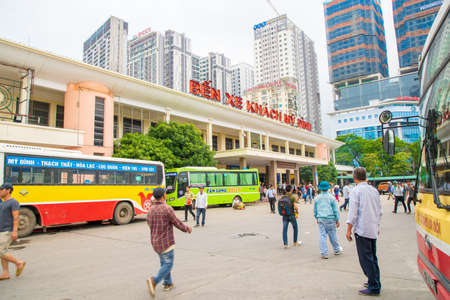 MY DINH, HANOIVIETNAM - JULY 25: Bus station for local travel to the north of VIETNAM in the center city. on 07 29 2018 Most save traveled go to SAPA, Halong bay and Southern China. Editorial