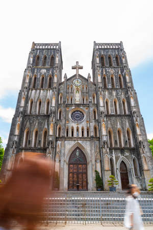 HANOI/VIETNAM - JULY 29: St Joseph's Cathedral is a old church Its a late 19th-century Gothic Revival (Neo-Gothic style) church that serves as the cathedral of the Roman Catholic Archdiocese of Hanoi to nearly 4 million Catholics in the country. in OLD QU