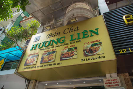 HANOIVIETNAM - JULY 29: Bun Cha with grilled pork, rice noodles, vegetable and soup in vietnamese cuisine was taken when Barack Obama visited on 07 29 2018 in Bun Cha Huong Lien street foods.